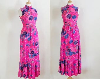 ON SALE 60s Pink Floral Maxi Dress