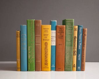 Vintage Decorative Book Collection - Greens, Yellows, Browns and Blues