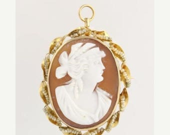 30% OFF Carved Shell Cameo Brooch / Pendant - 10k Yellow Gold Seed Pearls Convertible L2258