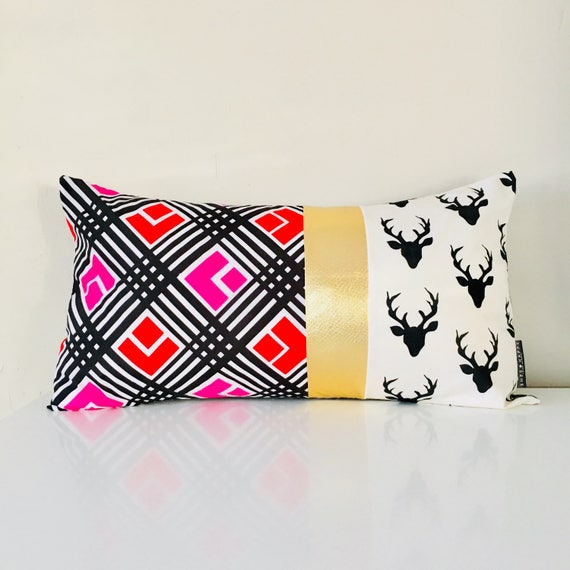 "Black and White Deer Antler Pillow Cover 14""x24"" Lumbar Cushion Pillow Retro Mod Red Pink Geometric Cushion Metallic Gold"