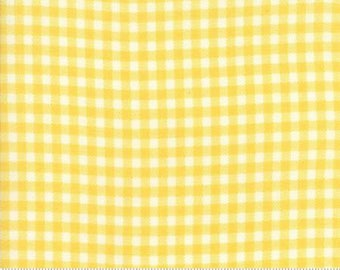 Fabric by the Yard- Howdy-Gingham in buttercup- by Stacy Iest Hsu for Moda