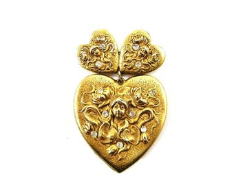 Vintage Heart Brooch, Gold Heart Pin, Unusual Rhinestone Brooch, Mythical Jewelry, Maiden Goddess Jewelry, Heart Jewelry