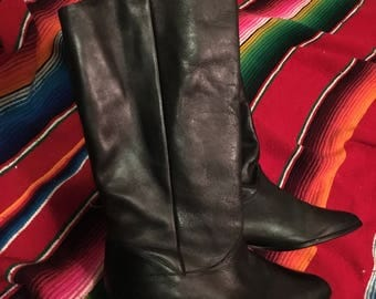 womens 9.5 tall black leather riding boots pirate rocker boots