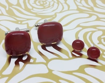 Deep Red Matching Glass Cuff Links and Earrings, Wedding, Prom or Formal Attire