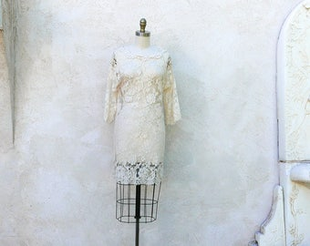 Short Lace Dress, Vintage 70s Jessica McClintock, Ivory Shift