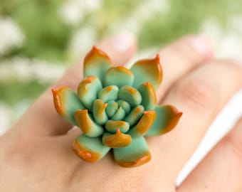 Big Blue Orange Succulent Planter Ring Wholesale 4,5 cm Statement Succulent Ring Succulent Jewelry Wedding Bridal Birthday Gifts Jewelry
