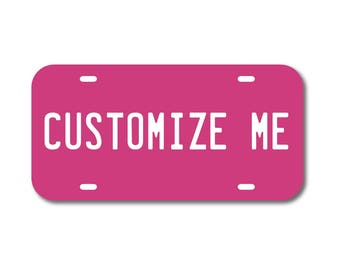 Plastic License Plate Custom Hot Pink Car Tag Custom Personalized Vehicle Business Logo Monogram