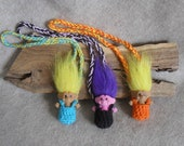 Troll Doll Pouch Necklace, Child Geek Necklace Charm (choose 1)