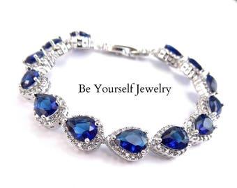 Wedding Jewelry Sapphire Bridal Bracelet Navy Blue Bride Bracelet Cubic Zirconia Teardrop Tennis Bracelet Bridesmaid Gift Something Blue