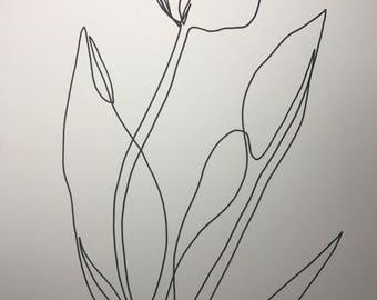 Tulip-minimal line art|minimal art|minimal line drawing|contour drawing|contour line drawing|pinterest|line drawing botanical|housewarming