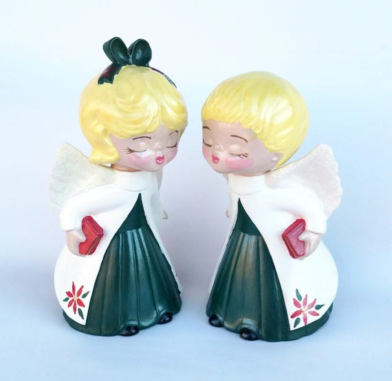 Vintage 1979 Kissing Christmas Angel Figurine Set