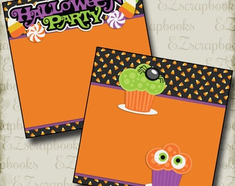 HALLOWEEN Party NPM - 2 Premade Scrapbook Pages - EZ Layout 2403