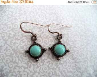 ON SALE Turquoise and silver earrings/ vintage small round turquoise earrings/ sterling silver small dangle earrings