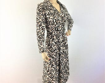 Vintage 60s leopard print dress - 1960s classic animal print dress - medium