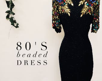 Vintage 80s beaded cocktail dress - 1980s dramatic black and colorful beaded party dress - medium
