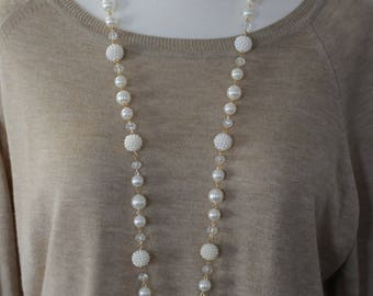 Pearl Necklace, Long white necklace, Gift for her, Best friend gift, Holiday Gift
