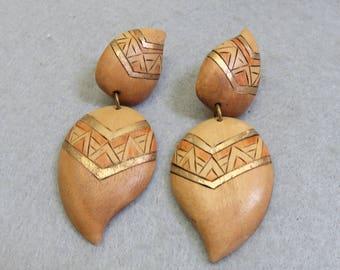 African Design Hand Painted  Pierced Wood Earrings, 1980 Pierced Earrings