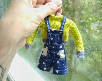 Denim Overall Shorts and knitted cardigan for Blythe Pullip Licca Azone S 1/6  FREE SHIPPING