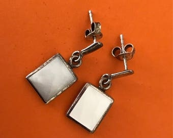 Sterling Silver Stud and Rectangular White Mother of Pearl Drop Earrings