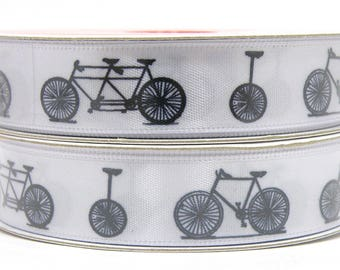 5/8 inch Black and White Bicycle Ribbon, White Ribbon with Bicycles and Unicycles, Bicycle Built for Two, Black Bicycle Print, 3 yard roll