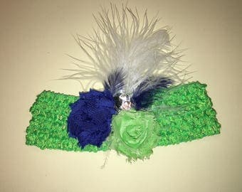 """1.5"""" standard crochet headband with 1.75"""" shabby fabric flowers, and feathers. Lime Green and Blue"""