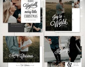 Christmas Card Templates: Joyful - Set of Four 5x7 Holiday Card Templates for Photographers