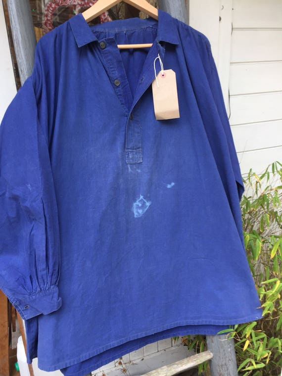 Antique French biaude / work smock from pays de Loire pristine and large 7zPjIWKA