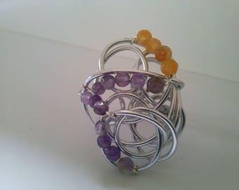 Large gemstone ring,ARTISAN WIREWORK ring,handmade silver ring,wirewrap amethyst&aventurine ring,statement adjustable ring by magyartist