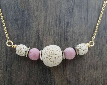 Tan and Rose Gold Aromatherapy Necklace Essential Oil Diffuser Necklace Lava Stone Pink Rhodonite Necklace
