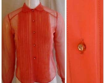 Vintage 1950s Sheer Blouse Deep Salmon Pink Rhinestone Button Long Sleeve Small 36 Bust