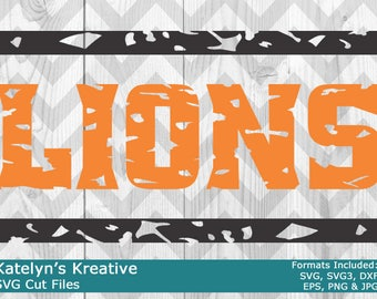 Lions Distressed SVG Files