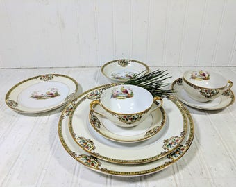 """Large Dinner Plate in Noritake Morimura Chelsea Pattern Antique Dinnerware Individual Fine China Large 9 3/4"""" Dinner Plate - 12 Available"""