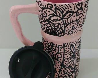 Eco Friendly Ceramic Travel Mug w/lid -pink & black design..swirls, dots, flowers