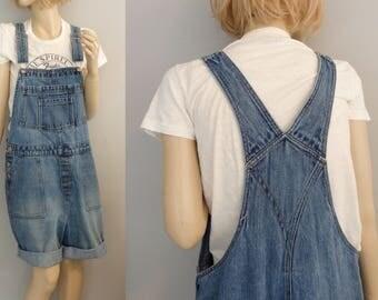 90s grunge denim Short overalls distressed cotton denim short overalls ( L)