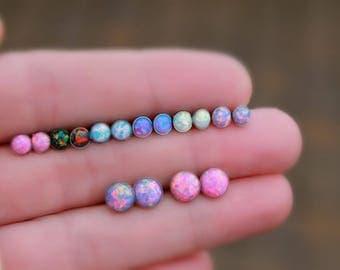 TITANIUM OPAL STUD Earrings- Opal Earring ~ Dainty Opal Earrings - October Earrings - October jewelry - stud earrings - tiny opal earrings