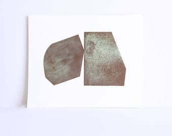 "Original Etching. Intaglio. Modern Art. "" Pivot"" in Copper Brown + Green. Textured . unframed. Large Print"