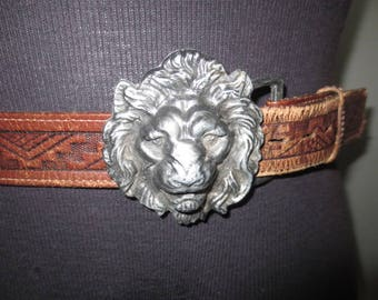Hand Tooled Belt With Cast Aluminum Buckle, Lion's Head Buckle // Well Worn Leather, Removable Buckle...42""