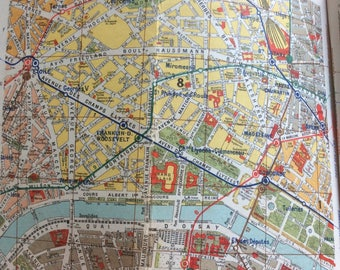 1947 Hachett Vintage French Plan de Paris/ Tourist Maps of Paris Booklet and Useful Information