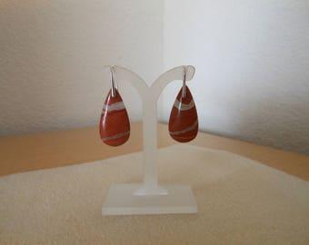 Genuine Red Jasper Teardrop shaped pierced earrings with sterling silver earwires,womens red jasper pierced earrings