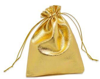 "50 Gold Gift Bags, metallic silver with drawstring, usable space 7x7cm, 2-3/4"" x 2-3/4"" favor bags, bag0062"