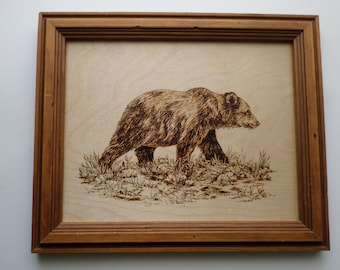 Bear wood burning wall art, original art, pyrography, wood wall art