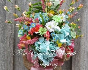 ON SALE Floral Wreath, Floral Swag, Floral Wall Bouquet, Country French Wreath, Elegant Garden Bouquet, Designer Wreath, Mother's Day Gift
