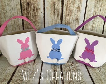 Easter Bucket   Personalized   Bunny Tail Bucket