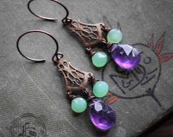 Chrysoprase and Amethyst Art Nouveau Chandelier Earrings. Mucha's Spring.