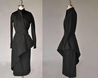 Jeanne Lanvin dress | vintage 40s black Lanvin dress | peplum style wrap, long sleeves, pencil skirt