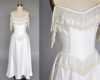 vintage 80s white wedding gown | silk wedding gown with pearls | 80s pearl wedding dress XS