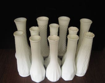 12 Piece Tall  Milk Glass Bud Vase Collection, Set of 12 Wedding Vases