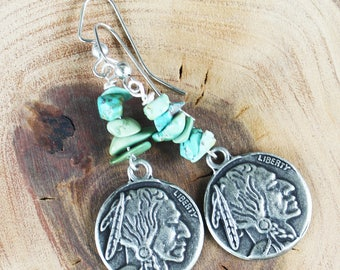 Indian Head Silver Coin Earrings with genuine turquoise, southwest earrings, turquoise earrings, silver earrings, rustic earrings