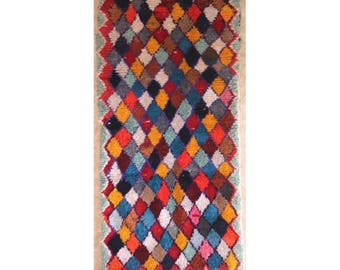 "190X95 cm 6'2"" x 3'1""   T30243  boucherouite , boucharouette,  moroccan rugs , berber rugs, morocco carpets"