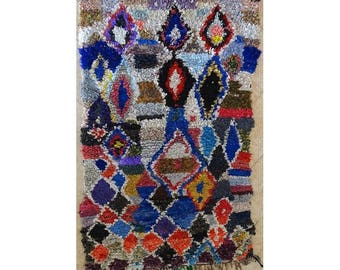 "210X130 cm 6'10"" x 4'3""   T31621  boucherouite , boucharouette,  moroccan rugs , berber rugs, morocco carpets"